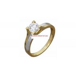 GOLD AND WHITE GOLD WITH ZIRCON ITALIAN DESIGN 14 KARAT BRIDGE D6307